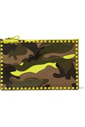 Valentino Rockstud Printed Canvas And Leather Clutch Lime Green
