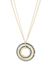 Kenneth Cole New York Woven Faceted Bead Double Circle Pendant Long Necklace Gold