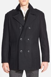 Andrew Marc New York 'Joshua' Double Breasted Wool Blend Peacoat With Inset Bib Black
