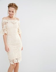 Paper Dolls Off Shoulder Crochet Dress With Frill Sleeve Cream