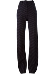 Cedric Charlier Striped Tailored Trousers Blue