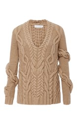 Nellie Partow Bay Wrap Cableknit Sweater Tan