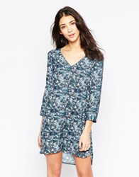 See U Soon Button Front Shift Dress In Bird Print Blue