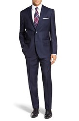 Andrew Marc New York Men's Big And Tall Andrew Marc 'Carlton' Classic Fit Plaid Wool Suit Navy