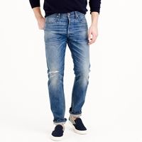 J.Crew Wallace And Barnes Japanese Denim Jean In Destroyed Faded Indigo Wash