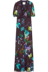 Michelle Mason Printed Silk Chiffon Gown Dark Purple