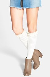 Women's Kensie Pointelle Detail Ruffle Knee High Socks Ivory