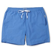 Onia Charles Mid Length Cotton Blend Swim Shorts Blue