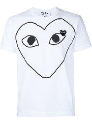 Comme Des Gara Ons Play Heart Print And Application T Shirt White