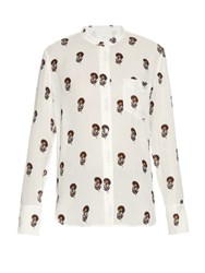 A.L.C. Julie Dahlia Print Silk Crepe Blouse Cream Multi