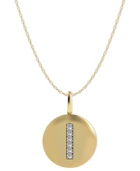 Macy's 14K Gold Necklace Diamond Accent Letter I Disk Pendant
