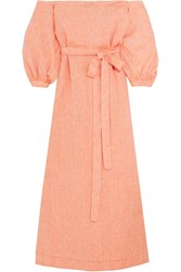 Lisa Marie Fernandez Off The Shoulder Linen Maxi Dress Peach