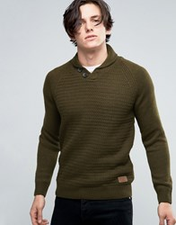 Threadbare Shawl Neck Jumper Green
