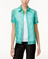 Alfred Dunner Tank Inset Patterned Shirt Mint