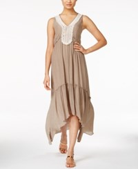 Ny Collection Crochet Trim Maxi Dress Popular Taupe