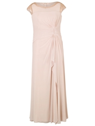 Chesca Sequin Trim Bead Mesh Dress Champagne