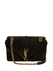 Saint Laurent College Medium Quilted Suede Shoulder Bag Black