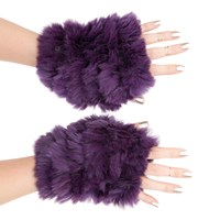 Jocelyn Fingerless Mittens Dark Purple