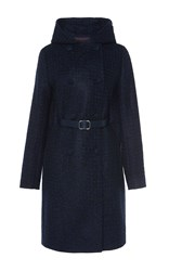 Martin Grant Cashmere Tweed Hooded Coat Navy