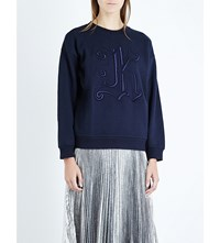 Christopher Kane Embroidered Cotton Jersey Sweatshirt Night