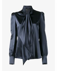 Saint Laurent Silk Pussy Bow Shirt Navy Blue Chocolate