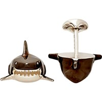 Deakin And Francis Men's Shark Head Cufflinks Silver