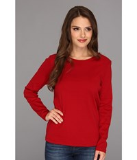 Pendleton Petite L S Jewel Neck Cotton Rib Tee Red Rock Women's Long Sleeve Pullover