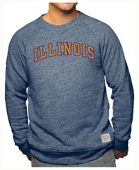 Retro Brand Men's Illinois Fighting Illini Tri Blend Crew Sweatshirt Navy
