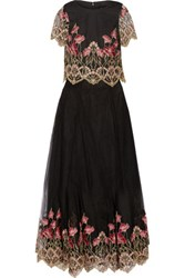 Marchesa Notte Embroidered Tulle Top And Maxi Skirt Set Black