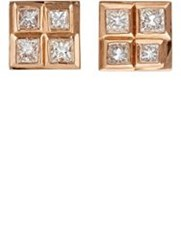 Nak Armstrong Women's White Diamond And Rose Gold Studs Colorless