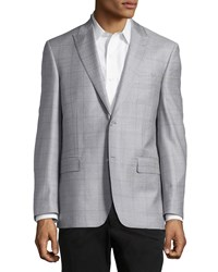 Ike Behar Windowpane Sport Coat Silver Purple