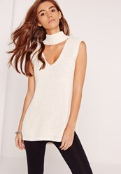 Missguided Choker Neck Chunky Tunic Cream Ivory
