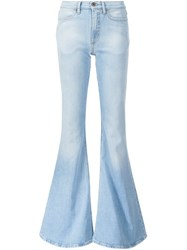 Off White Stretch Bootcut Jeans Blue