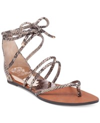 Vince Camuto Adalson Strappy Lace Up Flat Sandals Women's Shoes Rosey Bronze