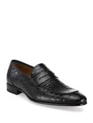 Mezlan Lizard Leather Penny Loafers Black