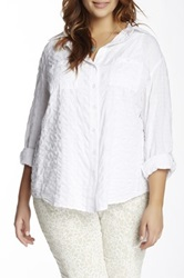 Sandra Ingrish Check Long Sleeve Shirt Plus Size White
