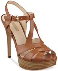 Guess Women's Kymma Strappy Platform Dress Sandals Women's Shoes Brown