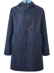 Ami Alexandre Mattiussi Classic Hooded Raincoat Blue