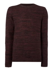 Label Lab Burke Multicoloured Crew Neck Jumper Deep Red