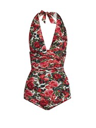 Dolce And Gabbana Pink Roses Print Ruched Halterneck Swimsuit Pink Multi