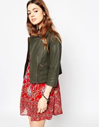 Asos Biker Jacket In Cropped Vintage Washed Leather Green