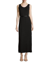 Joan Vass Belted Scoop Neck Tank Maxi Dress Black