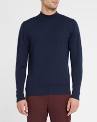 Knowledge Cotton Apparel Navy Merino Wool High Collar Sweater Blue