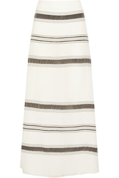 Zeus Dione Lefkes Striped Textured Silk Blend Maxi Skirt