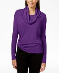 Karen Kane Cowl Neck Ruched Sweater Purple
