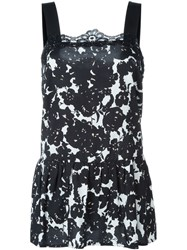 Twin Set Lace Trim Floral Tank Top Black