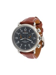 Shinola Round Analog Watch Brown