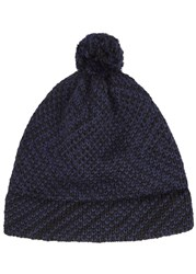 The North Circular Furze Two Tone Alpaca Blend Beanie Navy