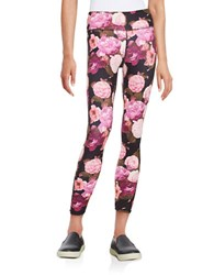 Betsey Johnson Dramatic Floral Printed Ankle Leggings Multi