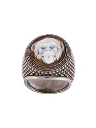 Amedeo Embossed Monkey Ring Brown